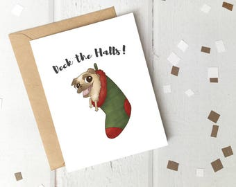 Deck the Halls Pug in Stocking Printable Christmas Card