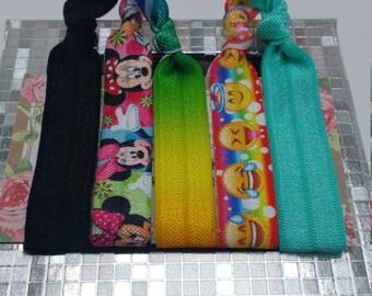 emoji hair ties, hair ties, emoji, emoji bracelets, elastic hair ties,