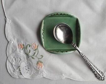 Ceramic Spoon Rest, Light Green Spoon Rest, Small Trinket Dish