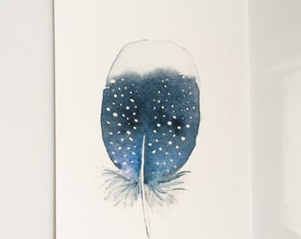 Tiny Blue Feather Print (5x7)