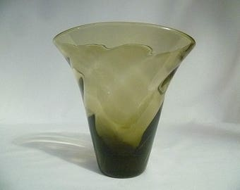 Olive Diagonal Ribbed Oval Vase