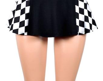 Black and Diamond Print Skirt *4 Length Options* Harley Quinn plus size XS S M L XL 2XL 3XL black white stretch cosplay mini cotton spandex