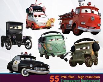 Cars movie clipart -  Digital 300 DPI PNG Images, Photos, Scrapbook, Cliparts - Instant Download