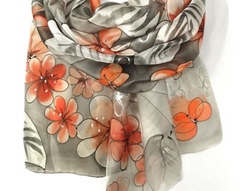 Hand Painted Floral Silk Scarf. Anniversary Birthday Gift for Her. Genuine Silk Art. Orange Red Shawl. Silk Painting. 18x71in MADE to ORDER