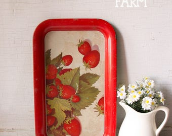 Vintage Metal Strawberry Serving Luncheon Tray - Cottage Kitschy Charm -