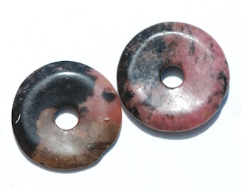 Rhodonite Donut, Pi, Pendant, Focal Bead, deep pink, tan and black, Round, 30 mm, D0070