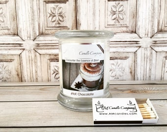 Hot Chocolate -Scented Soy Candles, Chocolate Candles, Cocoa Scented Candles, Holiday Scented Candles, Christmas Candles, Winter Candles