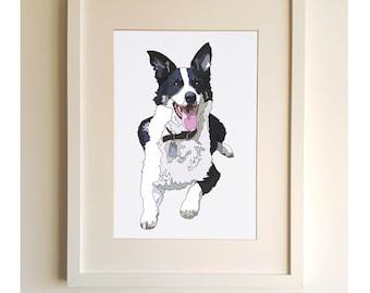 Pet Portrait, Custom Dog Art, Dog Mom Gift, Dog Lover Gift, Birthday Gift For Her, Dog Wall Art, Personalised pet gift, Dog Print, New home