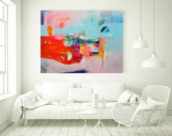 Orange and light blue large abstract painting, large wall art, original acrylic abstract painting, abstract wall art, large original art