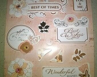 10 beautiful stickers 3D retro, romantic, vintage