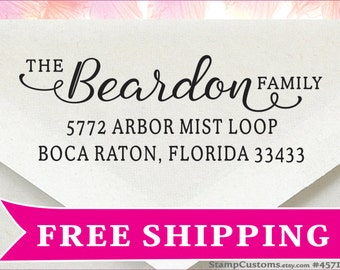 Address Stamp - FAST Custom Return Address Stamp - Family Wedding Gift 4571