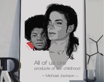 Michael Jackson poster, Michael Jackson wall print, Michael Jackson quote, Jackson 5 art