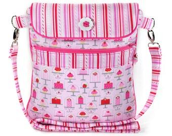 Crossbody iPad Bag Shoulder Strap Pink Cupcakes Hearts Valentines Day
