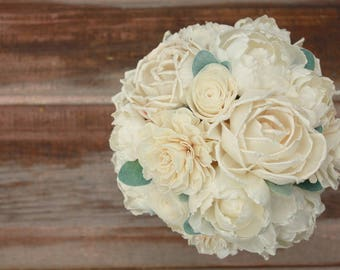 Sola flower bouquet, bridal bouquet, ivory wedding flowers, ecoflower bouquet, ecoflowers, sola wood flowers, wooden flower bouquet