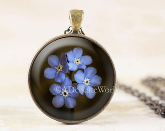 Forget Me Not Pendant, Grief Jewelry, Mourning Necklace, Bereavement Gift for Widow or Mother, Sympathy and Remembrance Present
