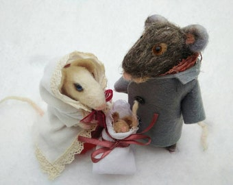 Mouse family. Felt mouse. Little fluffy mouse. Gray felted mouse. Miniature mouse. Family of mice Needle felted mice. Felted animal.
