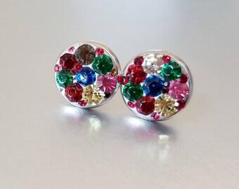 Paved Rainbow Crystal Mismatched Stud Earrings