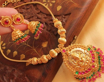 Traditional Necklace Set /Indian necklace | Wedding Jewelry Indian Jewelry |Indian Bridal Jewelry | Kundan Jewelry | temple jewelry