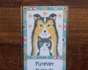 Furever Friends Bookmark  - Cat and Dog Best Friends Bookmark