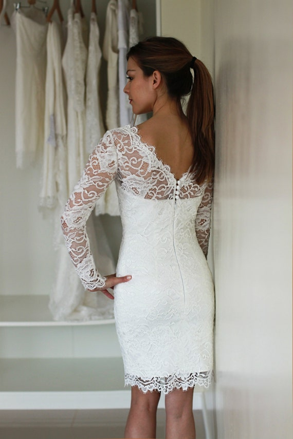 Short Wedding Dress With Sleeves And Illusion Neckline And Illusion Back,  Reception Lace Dress, See Through Lace Dress