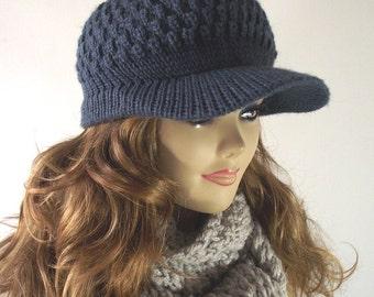 KNITTING HAT PATTERN Newsboy Brim Hat - Claire Newsboy Hat pattern Knitted Brim Cap winter Hat Pattern Pdf Pattern Instant Download