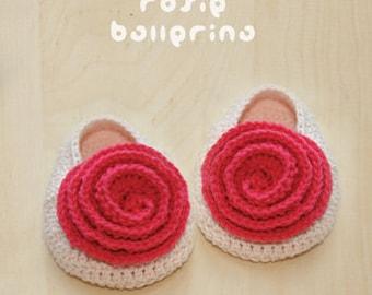 Crochet Pattern - Rosie Ballerina Baby Booties Rose Preemie Flower Newborn Socks Crochet Baby Slippers Rose Applique (RB01-K-PAT)