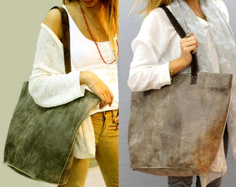 Sale!!! Distressed Brown leather bag, leather tote bag in brown, Large bag, Stephany bag!