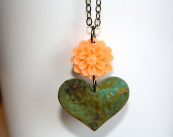 Heart and Flower Necklace, Antique Bronze Necklace, Heart Necklace, Patina