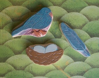 Bird Feather Nest Rubber Stamp Set Hand Carved