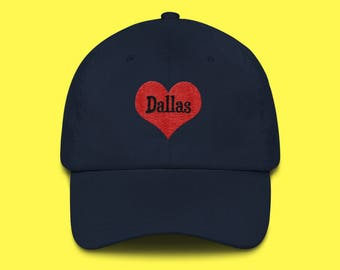 DALLAS Cap with the word Dallas inside of an Embroidered Red Heart with FREE SHIPPING