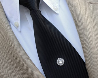 Mens Tie Tacks, Wedding Tie Clip, Rhinestone Silver Tie Tack for the Groom, Mens Tie Tack, Groomsman Gift, Groomsmen Gift, Grooms Tie Tack