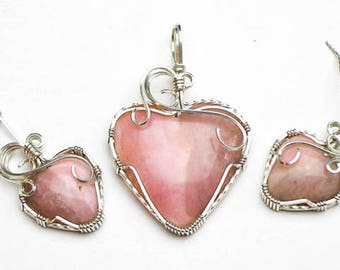 Pink Opal Heart Cabochons Swirls and Curls Argentium Sterling Silver Pendant and Earring Set
