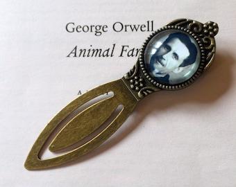 George Orwell Bookmark, Orwell Gift, Animal Farm Bookmark 1984 Dystopian Gift, Antique Bookmark, Classic Novel Gift, Vintage Author bookmark
