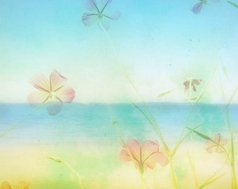 Beach Photography Print Soft Dreamy Beach Scene Picture 5x5 Beach Photograph, Tropical Flowers, Blue Ombre, Summer Home Decor Beach Photo