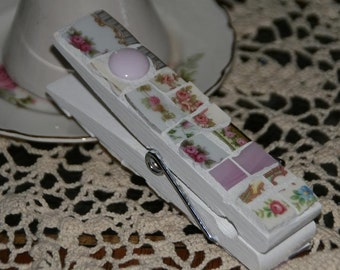 Huge Shabby Chic Mosaic Clip - Clothespin