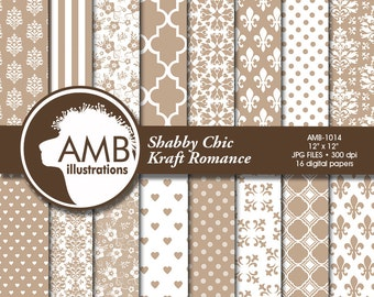 Floral Digital Papers, Shabby chic papers, Wedding Digital papers, Floral scrapbook papers, Kraft papers, Lace, AMB-1014
