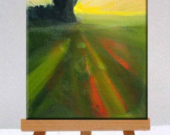 Small Oil Painting, Original Landscape, Country Sunset, Little 4x5 Canvas, Tree, Rural Field, Red Green Yellow,  Minimalist Design, Decor