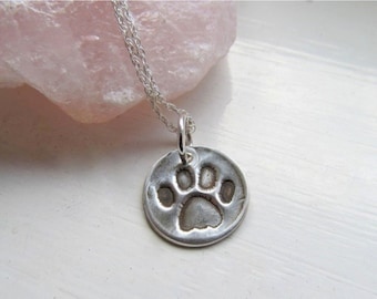 Little Paw Print Necklace, Silver Paw Print Pendant, Animal Lovers Jewelry
