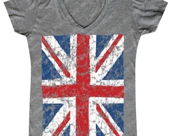 Distressed Union Jack Flag - Ladies' V-neck