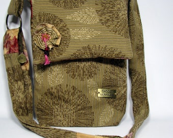 Messenger Bag, Boho Bag, Slouch bag, Shoulder bag, Cross body bag, Fabric Purse, Gift for her, Beige Bag, Handbag, OOAK bag