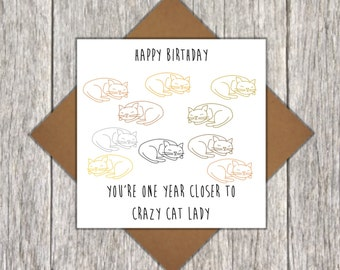 Crazy Cat Lady Birthday Card - Cat Birthday Card - Personalised Card - Crazy Cat Lady Card