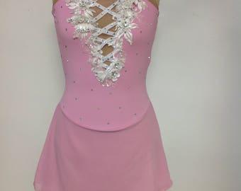 Adult xsmall pink halter skating dress