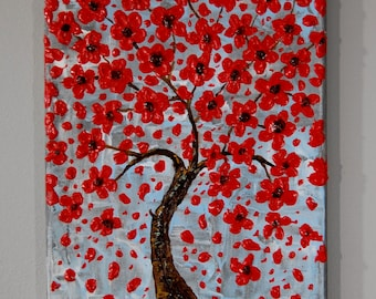 Textured, red blooming tree 8 x 10, acrylic painting on canvas