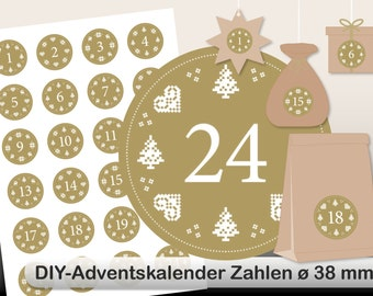DIY Advent Calendar norwegian digital sheet gold