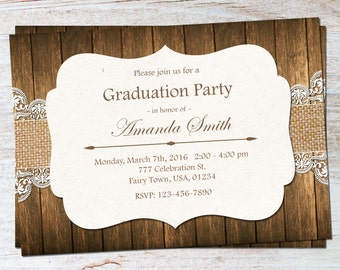 Rustic Graduation Invitation, Graduation Invite, Class of 2016, Graduation Announcement, Country Graduation, High School, College, Grad