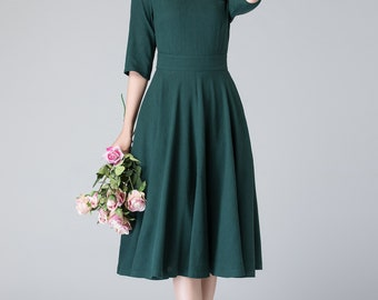 linen summer dress, midi dress,  dark green dress, knee length dress, summer dress, pleated dress, womens dresses, fit and flare dress 1903