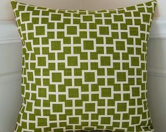 Decorative Pillow Cover, Green Geometric Pillow, Green Cushion Cover, 18x18 Cushion, Lattice Pattern