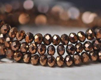 Crystal Glass Rondelle Faceted beads 3x4mm Metallic Antique Copper -(BZ04-140)/ 145pcs