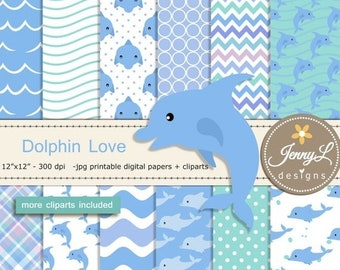 50% OFF Dolphin Digital Papers and Cliparts, Seaweeds, star fish, water bubbles, wave ,for Digital Scrapbooking, Invitations,Planners