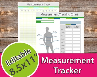 Meashurement Tracker, Measurement Chart, Fitness Planner for Men,